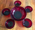 Vintage Fruit Bowls Royal Ruby Red Bubble Glass Anchor Hocking (set of 6)