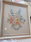 BEAUTIFUL VINTAGE EMBROIDERY HAND STITCHED LARGE PICTURE OF FLOWERS IN A VASE.