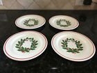 4 Anchor Hocking Holiday Wreath Christmas Ironstone salad dessert plates 7 1/2
