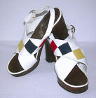 VINTAGE 1960s 1970s MOD SPACE AGE DISCO PLATFORM HEELS LEATHER BOHO SHOES ITALY