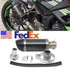 USA 51mm Motorcycle Compact Exhaust Pipe Muffler Retrofit Set Gloss Carbon Fiber