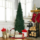 Green PVC Artificial Slim Pencil Christmas Tree w Stand Home Holiday Decor 8Ft