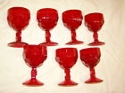 VNTG DEPRESSION DIAMOND QUILTED RED RUBY FOOTED WINE GOBLET ANCHOR HOCKING 7 pcs