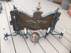 Vintage Rustic Gothic Spanish Heavy Wood Hanging Ceiling Castle Light 8 Bulbs