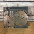 Coca-Cola Advertising Logo Vintage Metal Print Block on Wood
