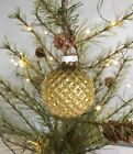 Vintage Shiny Brite Christmas Ornament Gold Waffle Ball 2