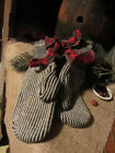ANTIQUE STRIPED WOOL MITTENS...LARGE......PRIMITIVE