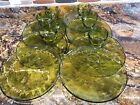 Beautiful Vintage 14 pc. Olive Green Indiana Glass Sunburst Snack Set Excellent