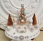 vtg NATIVITY Christmas bottle brush tree ornaments plaque JESUS figure jewelry
