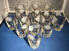 12 Gorgeous Vintage Drinking Glasses Tumblers Gold Color White Roses Pretty Set