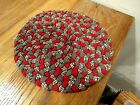 Antique red braided candle mat old country primitive