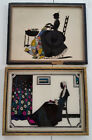 Antique Foil Silhouettes Reversed Paint Victorian 8 x 10 Two Framed Woman Sewing