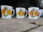 Fire-King Three Gay Fad Milk Glass Coffee Cups Mugs w/Hand Painted Fruit Design