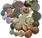 Vintage Lot Of Mixed Fabric Buttons Dark Colors 6/16
