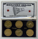 NASA Mercury Series Commemorative Coin Set 6 coins  case w mission stats