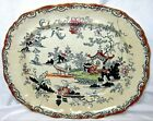 Antique Ashworth Bros Blue Willow Pattern Platter,Old Staple Repairs