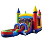 Rainbow Jump Castle Commercial Inflatable Bounce House Water Slide With Blower