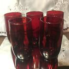 Lot / Set 5 Anchor Hocking Royal Ruby ROLY POLY 11 oz Glasses Tumblers