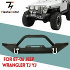 Powder Coated Front Bumper+D ring for Jeep Wrangler 87 06 YJ TJ