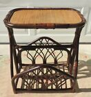 McGuire Bamboo Rattan Wicker Leather Magazine Book Rack Side/End Accent Table