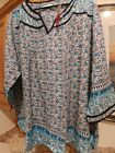 Avenue Size 22 24 BLUE GREEN Multicolored PEASANT Style Blouse Style  9518