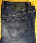 DIESEL WAYKEE MENS JEANS W34 L32 BUTTON FLY BLUE STRAIGHT STRETCH RIPPED