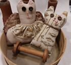 2 Primitive Rustic Bowl Fillers  Kitty and Cat Angel Ornies Ornaments Handmade