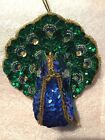 Vintage Peacock Christmas Tree Ornament Beads Sequins Gold Blue Bird