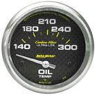 Autometer Carbon Fiber Oil Temp 66.7mm 2 58in Short Sweep Electronic 300 Deg F
