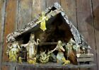 BEAUTIFUL VINTAGE LARGE MANGER NATIVITY CHRISTMAS SCENE MADE IN ITALY JESUS