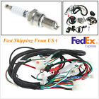 Motorcycle 125 250cc Quad Electric Spark Plug Switch Razor CDI Coil Wire Harness