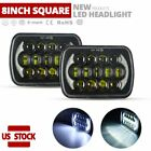 105w 7X6 5X7 LED Headlight Hi Lo Beam Halo DRL For Jeep Cherokee Wrangler YJ