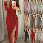 Womens Split Off Shoulder Evening Formal Party Ball Gown Prom Lady Bodycon Dress