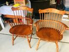 Pair of Beautiful L. Hitchcock Hitchcock's Solid Oak Windsor Dining Arm Chairs