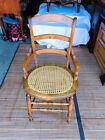 Beautiful Vintage Solid Pine Dining Arm Chair W/ Wicker Seat Cover L@@K