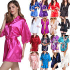 Womens Short Satin Kimono Robes Gown Bridal Wedding Bride Bridesmaid Robe Dress