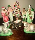 Rare Vintage 8 Pc Nativity Set Chalkware Baby Jesus Manger Kings Animals Italy