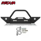 Fit 07 18 Jeep Wrangler JK Front Bumper + Winch Plate D ring LED Light Bull Bar