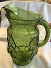 Vtg Anchor Hocking Rain Flower Green Glass Water/Ice Tea 64oz Pitcher Ice Guard