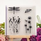 Dragonfly Butterfly Flowers Rubber Stamp Cling Diary Scrapbooking DIY Dcor YG