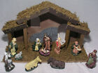 Christmas Nativity Set 11 Porcelain Figurines Wood Stable New in Opened Box