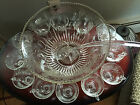 14 pc Indiana Glass Harvest Grape Pattern - Clear Glass Punch Bowl Set w/ Ladle