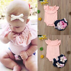 Cute Newborn Baby Girl Summer Outfits Clothes Tops Romper+Floral Shorts 2PCS Set