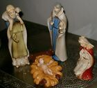 Vintage 1980 Large NATIVITY SCENE 4PIECES Highly glazed Unusual faces