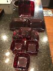 9 Piece Set Anchor Hocking Royal Ruby Red Square Glass Charm Plates