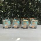 Set of 4 Vintage Riverboat Gold Teal Glasses Southern Comfort 3.5
