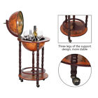 Italian Style Globe Wooden Liquor Wine Rack Shelf 35 High Bar Stand 3 Wheels