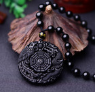 Chinese Exquisite Handmade Obsidian Dragon Phoenix Gossip Necklaces amulet