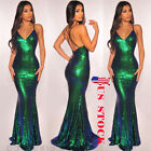 US Women Deep V-neck Evening Party Prom Bridesmaid Ball Gown Formal Sequin Dress