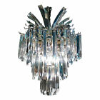 Dazzling Vintage Hollywood Regency Three Tier Lucite Palm Chandelier Art Deco